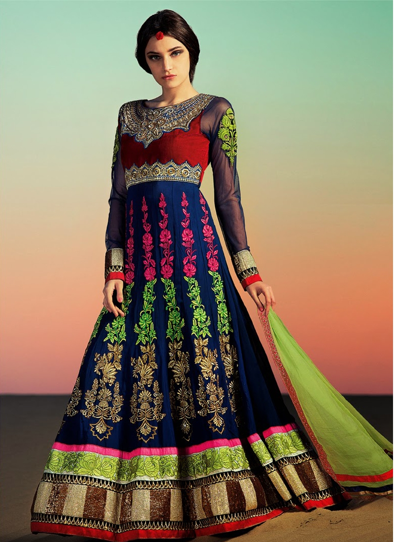 Riveting Navy Blue Color Designer Salwar Kameez