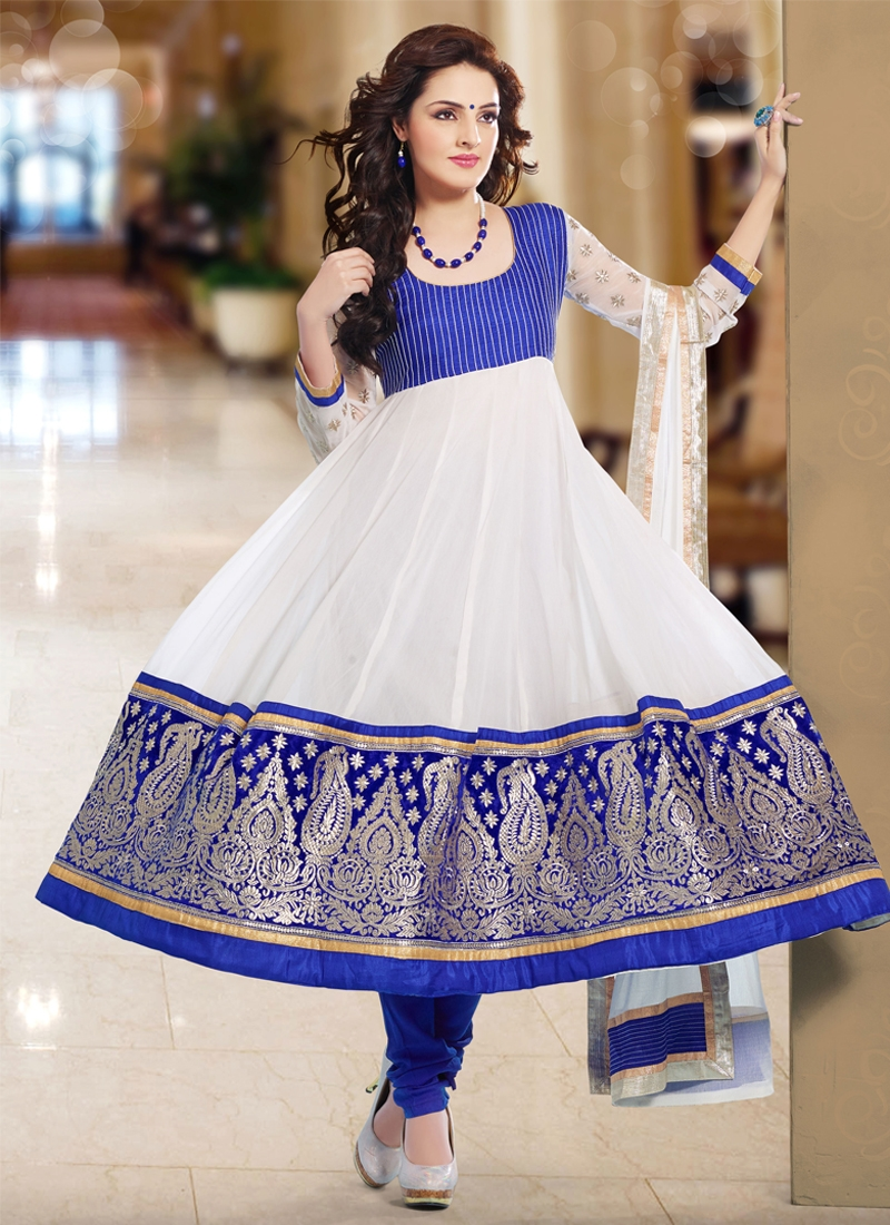 Riveting Off White Color Anarkali Salwar Kameez