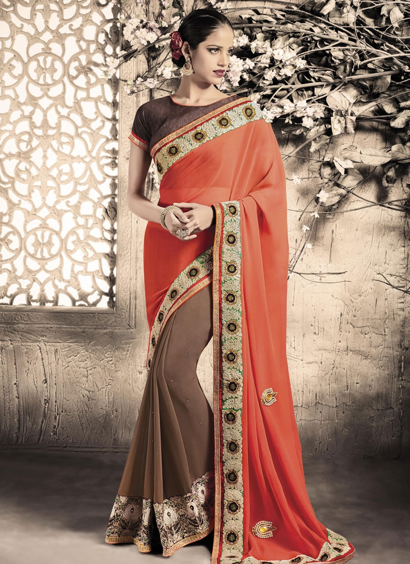Riveting Stone And Lace Work Half N Half Party Wear Saree