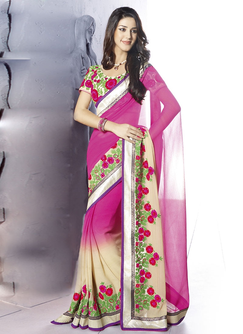 Rose Pink And Off White Party Wear Saree