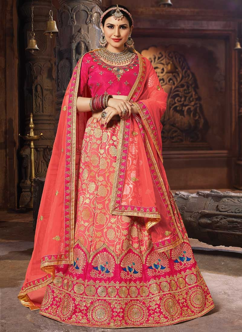 Rose Pink and Salmon A - Line Lehenga