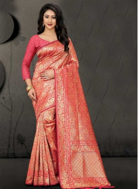 Rose Pink and Salmon Art Silk Contemporary Style Saree For Ceremonial