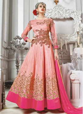 Rose Pink and Salmon Art Silk Long Length Anarkali Salwar Suit For Party