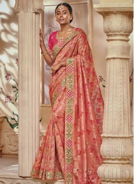 Rose Pink and Salmon Beads Work Traditional Saree