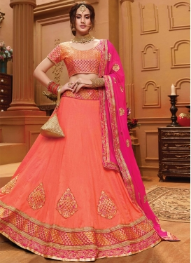 Rose Pink and Salmon Designer A Line Lehenga Choli For Ceremonial