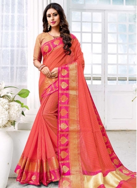 Rose Pink and Salmon Designer Traditional Saree For Ceremonial