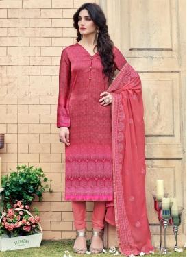 Rose Pink and Salmon Digital Print Work Churidar Salwar Kameez