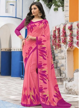 Rose Pink and Salmon Faux Georgette Trendy Saree