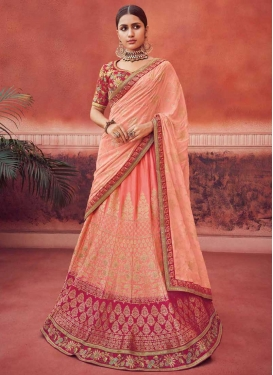 Rose Pink and Salmon Jacquard Silk Trendy Lehenga Choli