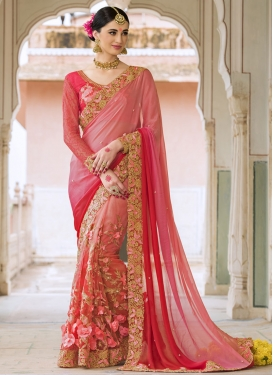 Rose Pink and Salmon Net Designer Contemporary Style Saree For Bridal
