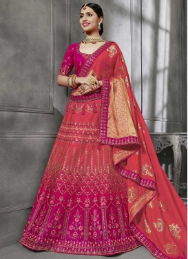 Rose Pink and Salmon Silk Trendy Lehenga For Festival