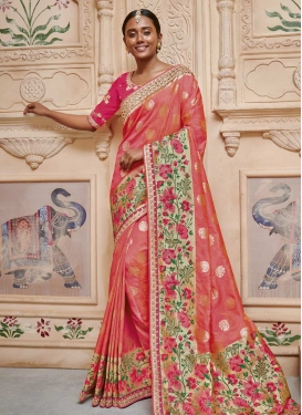 Rose Pink and Salmon Trendy Classic Saree