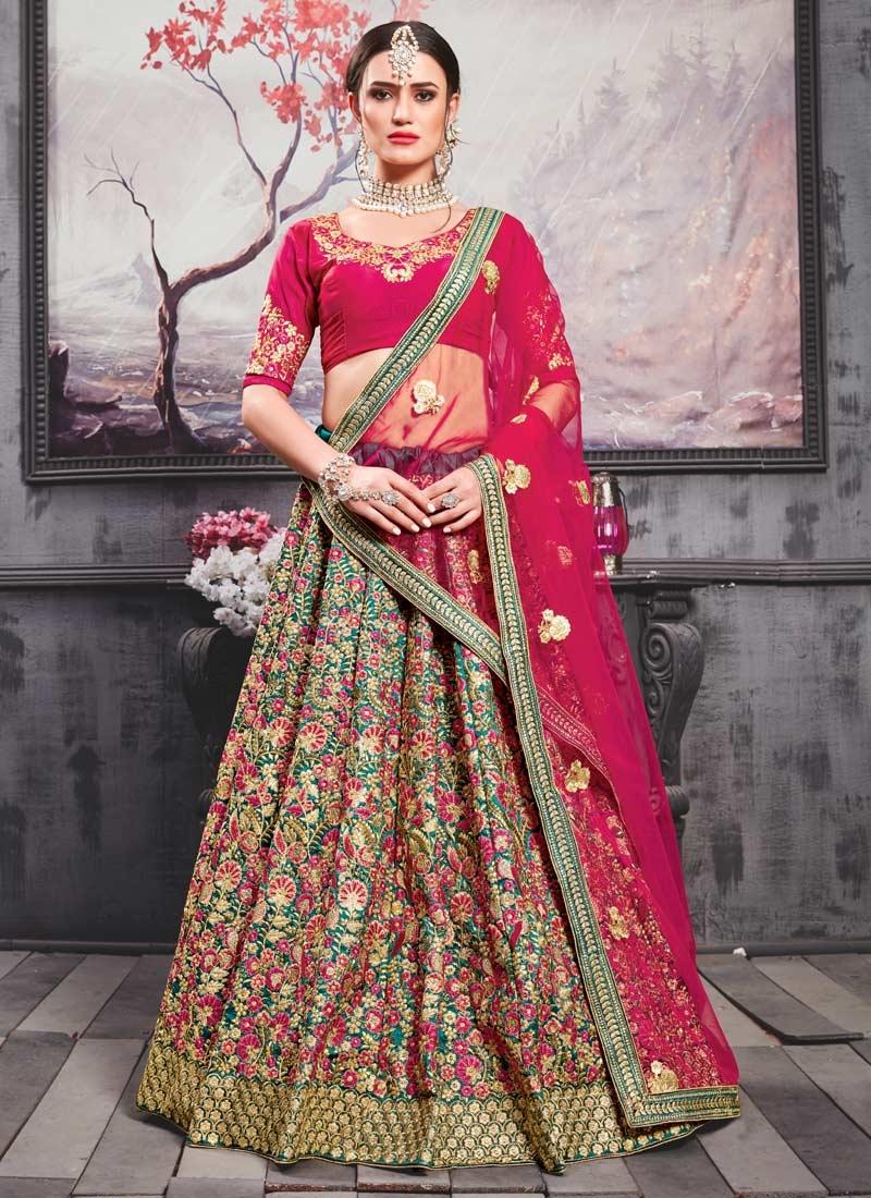Rose Pink and Sea Green Art Silk A Line Lehenga Choli