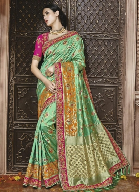 Rose Pink and Sea Green Banarasi Silk Classic Saree