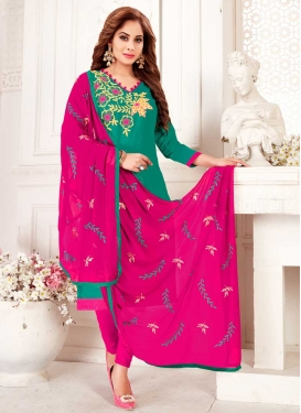Rose Pink and Sea Green Cotton Trendy Straight Suit