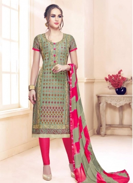 Rose Pink and Sea Green Embroidered Work Trendy Churidar Suit