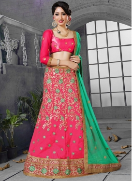 Rose Pink and Sea Green Faux Georgette A Line Lehenga Choli