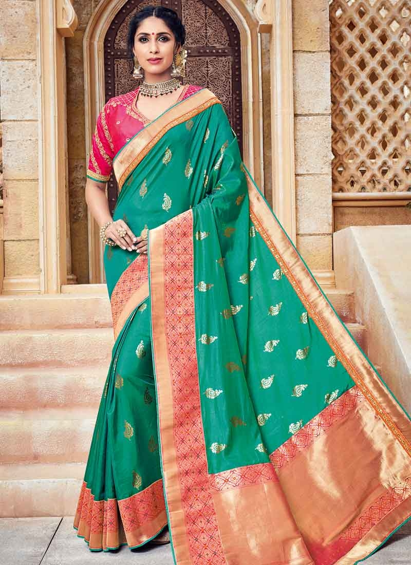 7ca06c31ffd1e Buy Rose Pink and Sea Green Jacquard Silk Classic Saree Online