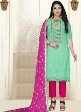 Rose Pink and Sea Green Pant Style Salwar Kameez