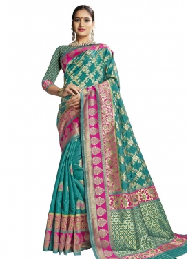 Rose Pink and Sea Green Thread Work Classic Saree