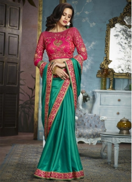 Rose Pink and Sea Green Trendy Saree For Ceremonial