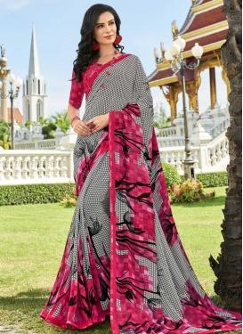 Rose Pink and Silver Color Digital Print Work Trendy Saree