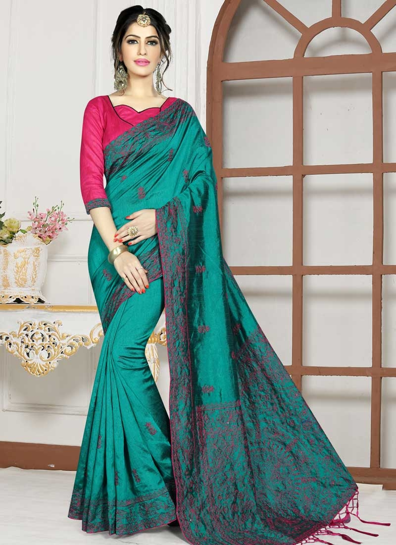 Rose Pink and Teal Art Silk Contemporary Style Saree
