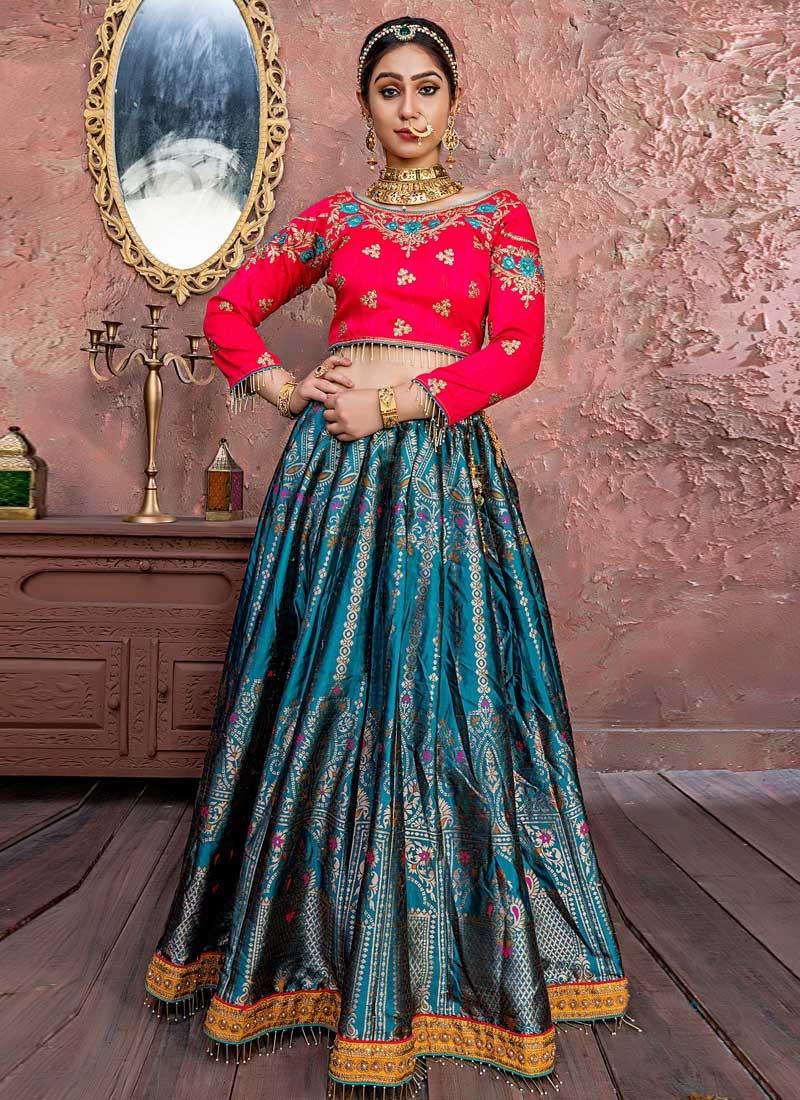 Rose Pink and Teal Banarasi Silk Trendy Lehenga For Bridal
