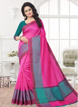Rose Pink and Teal Contemporary Style Saree For Ceremonial