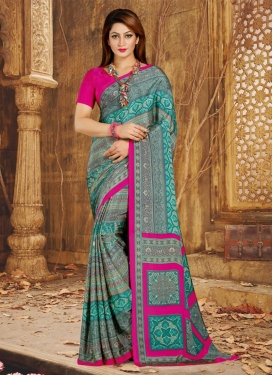 Rose Pink and Teal Crepe Silk Trendy Classic Saree