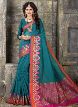 Rose Pink and Teal Khadi Silk Classic Saree