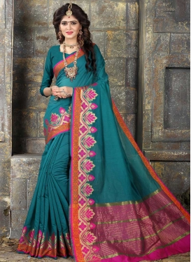 Rose Pink and Teal Nylon Silk Designer Traditional Saree