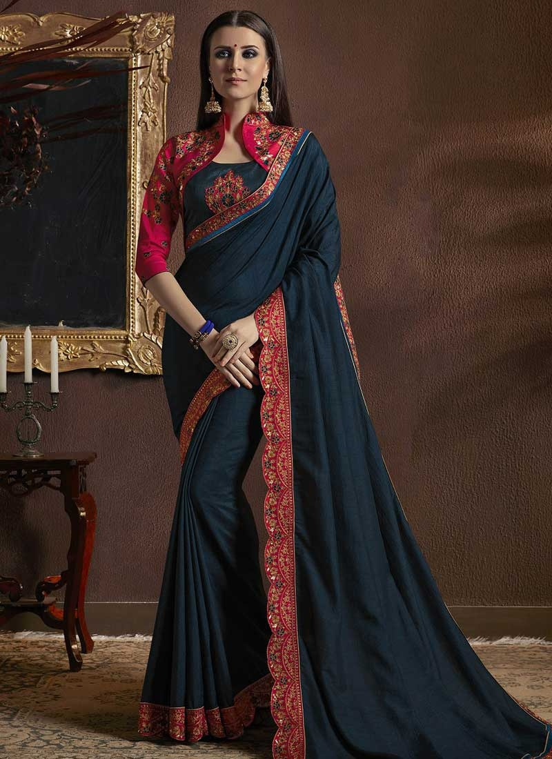 Rose Pink and Teal Silk Georgette Contemporary Style Saree