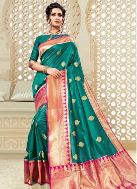 Rose Pink and Teal Thread Work Trendy Saree