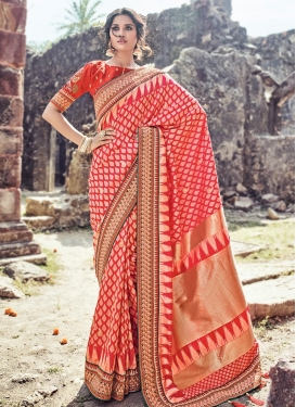 Rose Pink and Tomato Banarasi Silk Traditional Saree