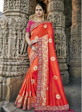 Rose Pink and Tomato Beads Work Trendy Saree