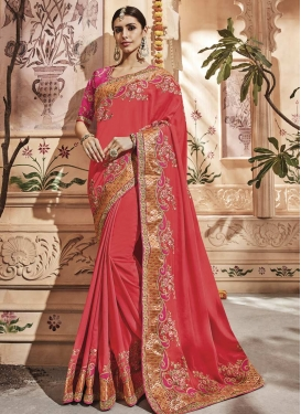 Rose Pink and Tomato Designer Contemporary Saree