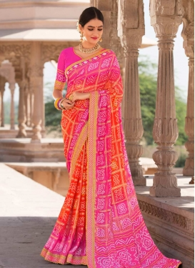 Rose Pink and Tomato Faux Georgette Trendy Saree For Ceremonial