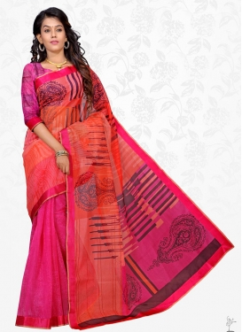 Rose Pink and Tomato Lace Work Trendy Classic Saree