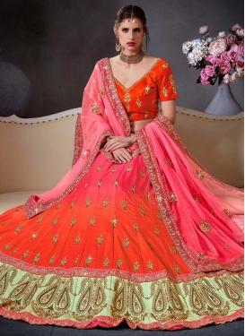 Rose Pink and Tomato Satin Silk Designer A Line Lehenga Choli For Bridal