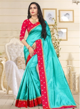 Rose Pink and Turquoise Art Raw Silk Classic Saree