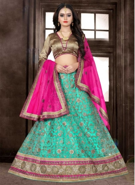 Rose Pink and Turquoise Beads Work Trendy Lehenga Choli