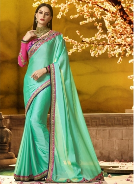 Rose Pink and Turquoise Embroidered Work Satin Silk Contemporary Style Saree