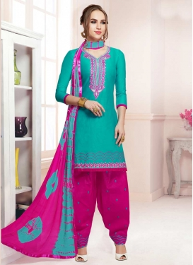 Rose Pink and Turquoise Patiala Salwar Kameez