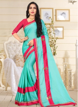 Rose Pink and Turquoise Trendy Classic Saree