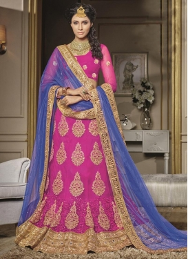 Rose Pink and Violet Booti Work A - Line Lehenga