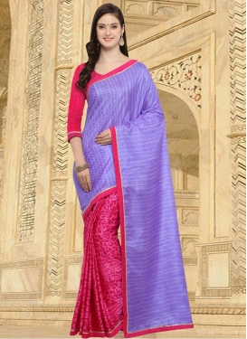 Rose Pink and Violet  Half N Half Saree