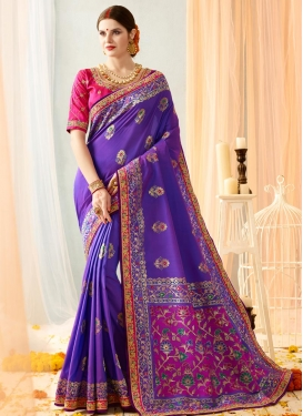 Rose Pink and Violet Traditional Saree For Festival