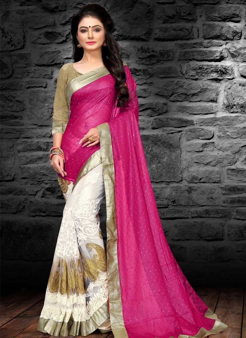 Rose Pink and White Embroidered Work Half N Half Saree