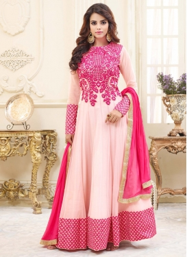 Rose Pink and White Embroidered Work Net Trendy Salwar Kameez